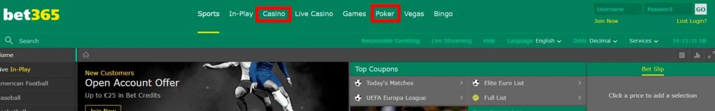 BET365 casino et poker
